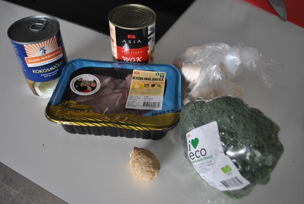 Ingredienser till thaigryta