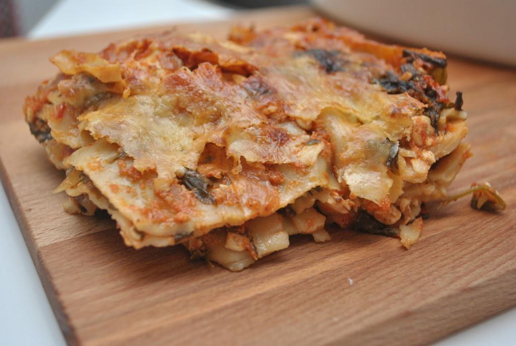 Vegetarisk lasagne med keso och bladspenat