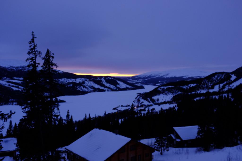 Utsikt från stugan, solnedgång